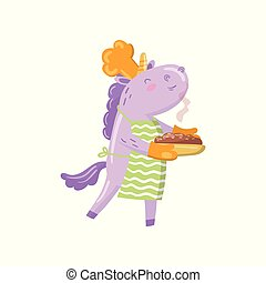 Cute unicorn chef character holding freshly baked pie, funny magical animal cartoon vector Illustration