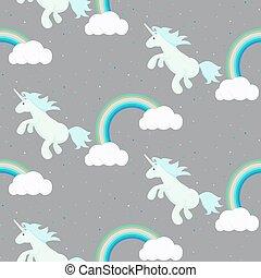 Cute unicorn child seamless pattern.