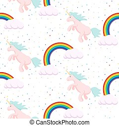 Cute unicorn child seamless pattern.