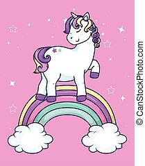 cute unicorn fantasy with rainbow and clouds