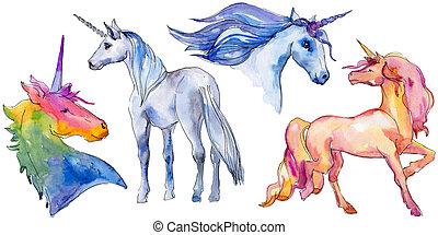 Cute unicorn horse. Fairytale children sweet dream. Rainbow animal horn character. Isolated illustration element.