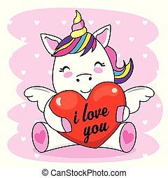 Cute unicorn hugging a heart