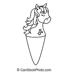 cute unicorn ice cream line style icon