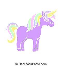 Cute unicorn icon on the white background