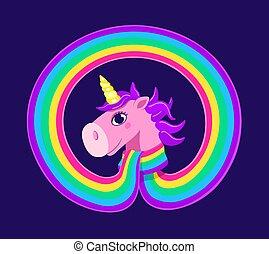 Cute unicorn in a rainbow-scarf on the blue