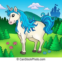 Cute unicorn in forest - color illustration.