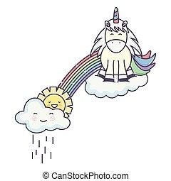 cute unicorn in rainbow with clouds rainy and sun kawaii