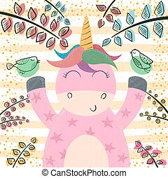 Cute unicorn in the magic forest.