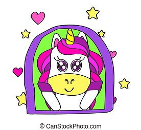 Cute unicorn in the window on a white background.