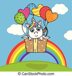 cute unicorn inside a box