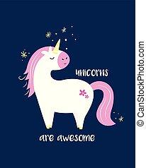 cute, unicorn., inspirational, card, magiske