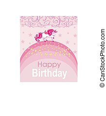 cute unicorn is walking on the rainbow - birthday card with place for your text