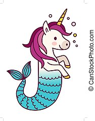 Cute unicorn mermaid simple vector cartoon illustration. ...
