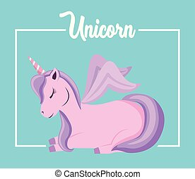 cute unicorn of fairy tale sitting