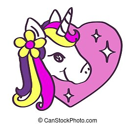 Cute unicorn on a background of hearts.