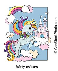 Cute unicorn on cloud and sky castle colorful vector illustration