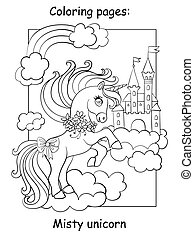 Cute unicorn on cloud and sky castle coloring vector