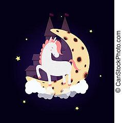Cute unicorn on moon with dream castle night sky