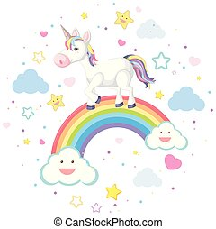 Cute unicorn on rainbow