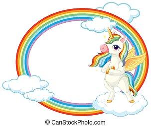 Cute unicorn on sky banner