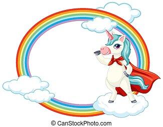Cute unicorn on sky