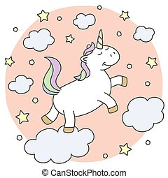 Cute unicorn on the clouds