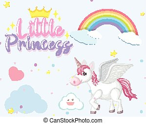 Cute unicorn on the sky background
