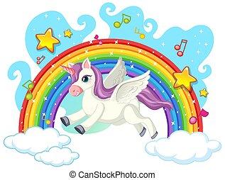 Cute unicorn on the sky