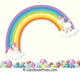 Cute unicorn on white background