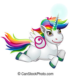 Cute unicorn pony with mane colors of the rainbow happily galloping isolated on white background. As a symbol of tolerance. Vector cartoon close-up illustration.