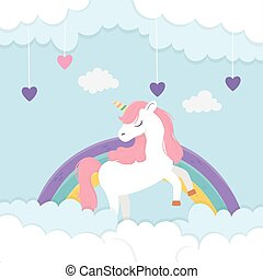 cute unicorn rainbow and hearts love clouds fantasy magic dream cartoon