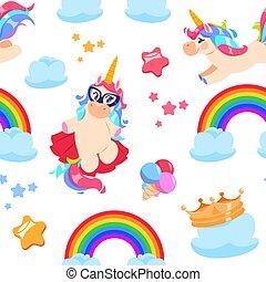 Cute unicorn seamless pattern. Baby pony, rainbow horse. Girl bedroom fairytale vector wallpaper