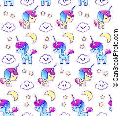 Cute Unicorn Seamless Pattern. Magic Dream. Kids Design.