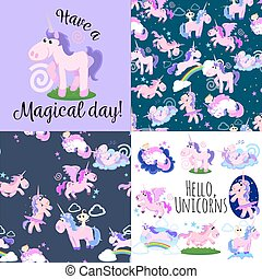cute unicorn seamless pattern, magic pegasus flying with...