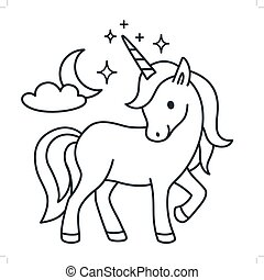 Cute unicorn simple cartoon vector coloring book illustration. Simple flat line doodle icon contemporary style design element isolated on white. Magical creatures, fantasy, dreams theme.