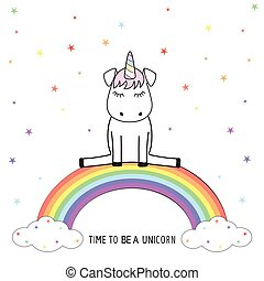 Cute unicorn sits on colorful rainbow. Graphics for t-shirts.