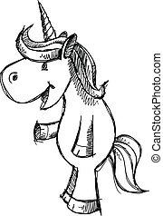 Cute Unicorn Sketch Doodle Vector
