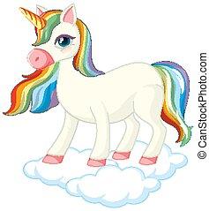 Cute unicorn standing on cloud