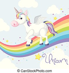 Cute unicorn standing on rainbow