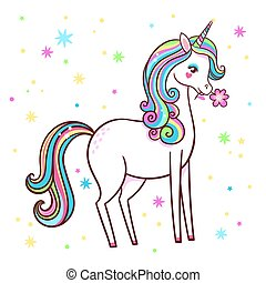 Cute unicorn stands on a white background with stars and holds a flower in his teeth.