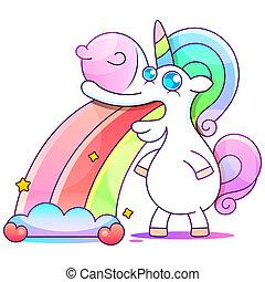 Cute unicorn, stars, rainbow greeting card, vector illustration