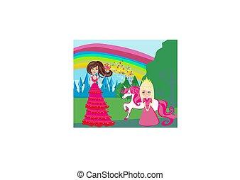 cute unicorn, sweet girl and beautiful fairy