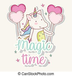 cute unicorn trendy with heart balloons