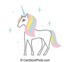 Cute unicorn vector art. Illustration for baby design or kids print t shirt.