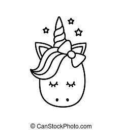 Cute unicorn. Vector cartoon character