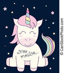 cute unicorn vector illustration for children design