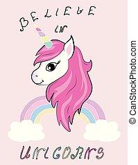 cute unicorn vector illustration for print design