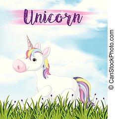 Cute unicorn walking in garden
