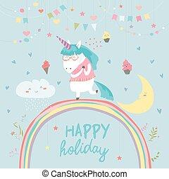 Cute unicorn walking on the rainbow
