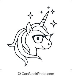 Cute Unicorn Wearing Eyeglasses Single Color Outline Illustration Simple Line Doodle Icon Coloring Book